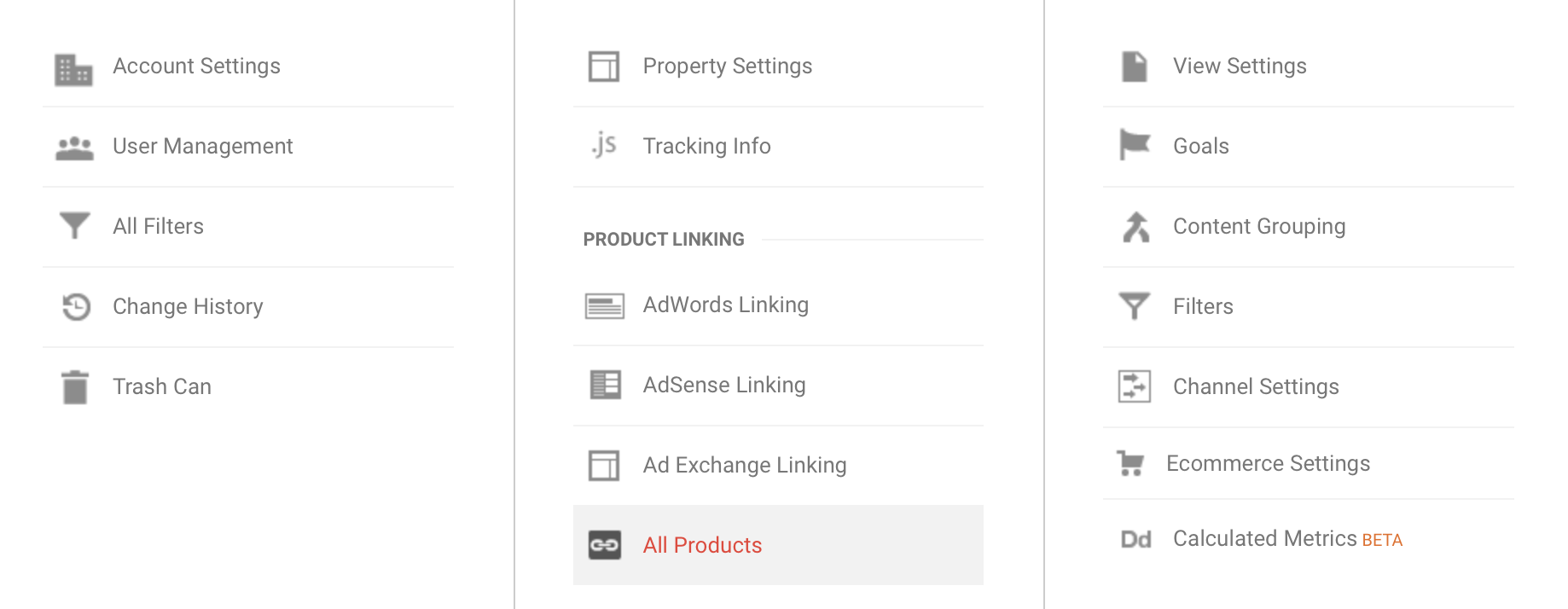 Screen shot of All Products in Google Analytics