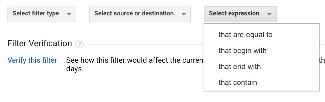 Screen shot of setting the parameters of a filter in Google Analytics
