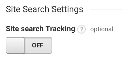 Screen shot of Site search Trackcing in Google Analytics