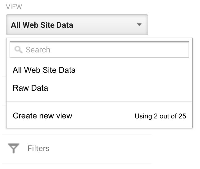 Screen shot of creating new Views from data in Google Analytics