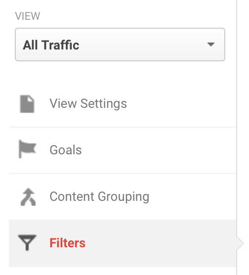 Screen shot of adding filters to a view in Google Analytics