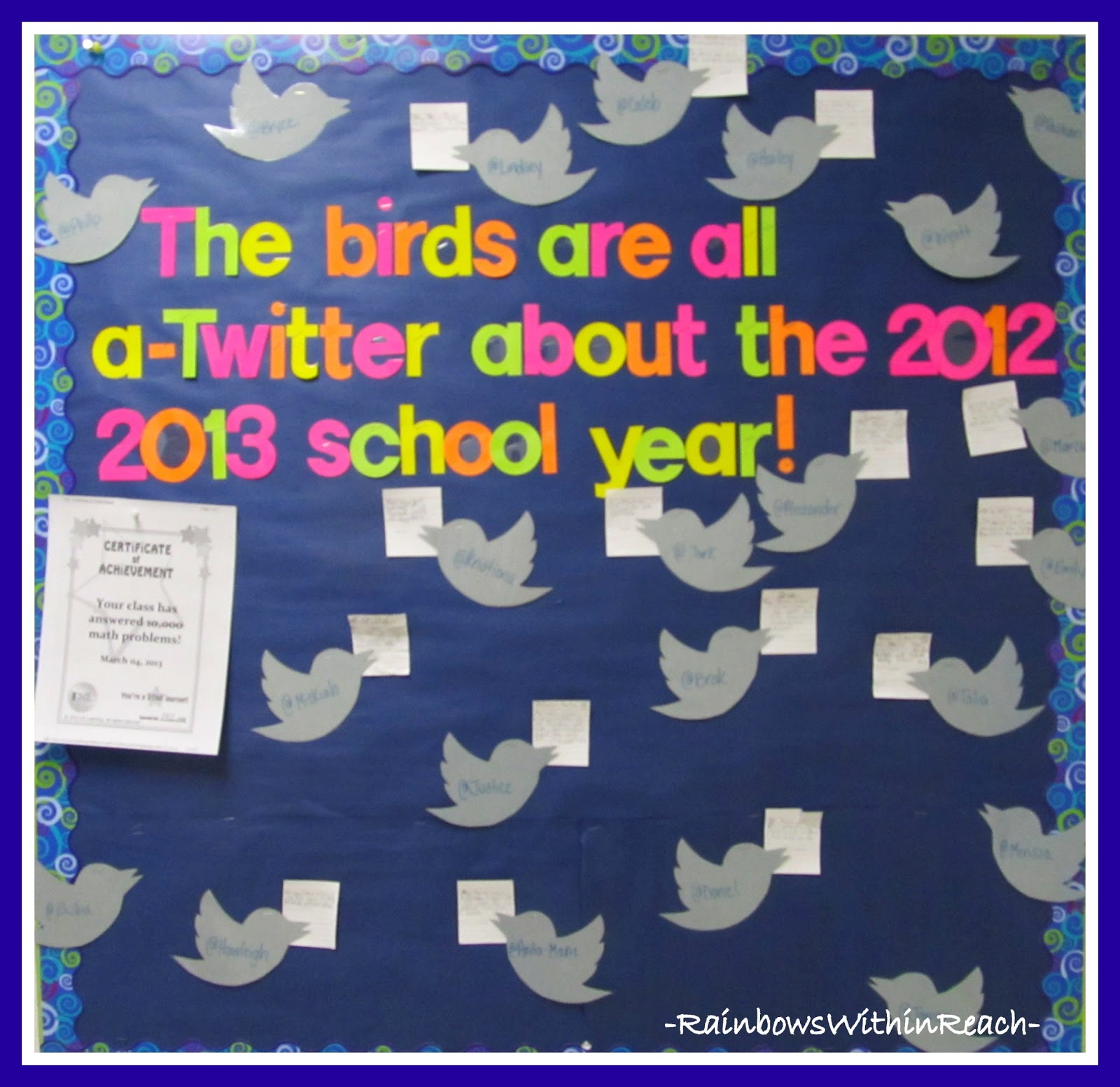 Screen shot of a bulletin board that's been decorated with cut-outs of birds and text that says 'The birds are all a-Twitter about the 2012-2013 school year' in colorful cut-out letters