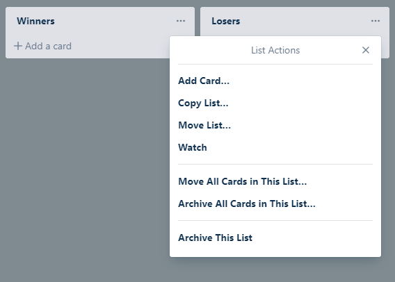 Screen shot showing the option to select 'Watch' for a Trello card