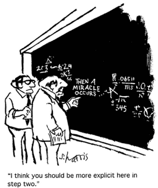 Comic in which two scentists stand in front of a blackboard on which an equation is written. Of the step in the middle, one says to the other 'I think you should be more explicit here in step two.'